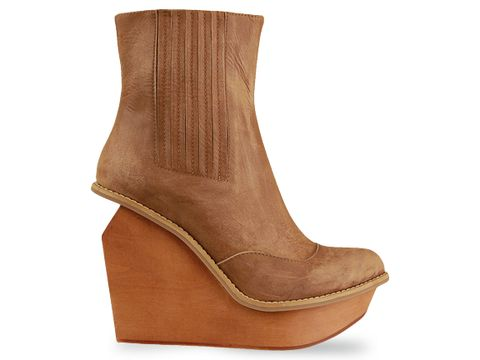 calf brown wedge bootie